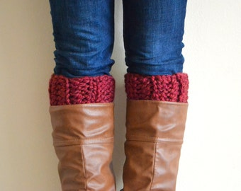 Cranberry Chunky Boot Cuffs // Boot Socks, Button Legwarmers, Boot Toppers