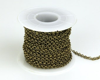 30ft Spool of Rolo Chain, Dia.3mm Antique Brass Chain, CB013.AB