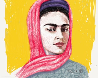 Frida Kahlo 8x10 art print in bright Yell                            ow.Created on my Ipad with the app Paper53 Copy