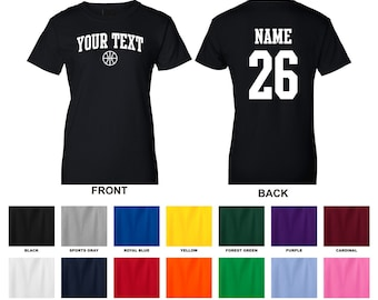 Personalized custom your text and number woman's basketball t-shirt, you choose the text for the front and back, ARCHED TEXT
