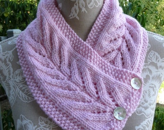 Pink Fern Pure Wool & Alpaca Neck-warmer  -  13166