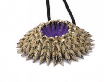 Book Page - Light Purple Origami Sunburst Necklace - Paper Necklace