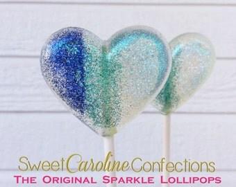 Blue Ombre Wedding Favors, Hard Candy Lollipops, Candy Lollipop,Sparkle Lollipops, Lollipops, Sweet Caroline Confections, -Set of Six