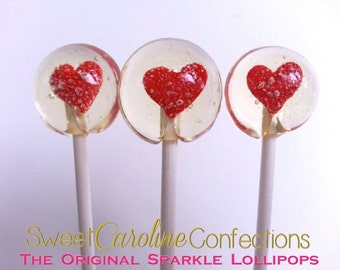 Red Heart Lollipops, Lollipops, Wedding Favors, Hard Candy Lollipops, Candy, Lollipops, Sweet Caroline Confections-Set of Six