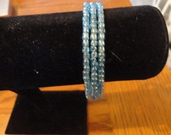 Memory Wire Bracelet-Glass Baby Blue seed Bead