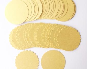 "Gold 2"" Die Cut Circles, Gold Scallop Circles, Gold Smooth Circles, Gold Metallic Circles, Gold Circles, Set of 50 Metallic Gold Circles"