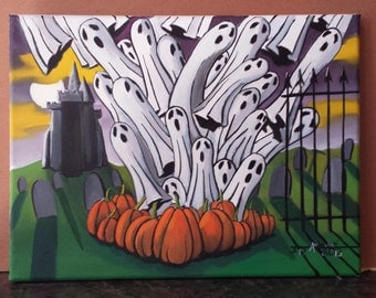 Halloween Night. 9x12. Oil on canvas.Unframed.Ghost Painting. Painting of Ghosts. Pumpkin Painting. Halloween Painting. Holiday Painting