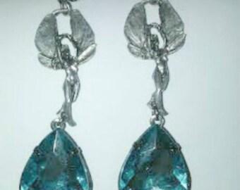 Huge Blue Fairy Drop Earrings