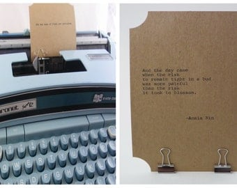 ANAIS NIN Quote Card 2--Typed on Vintage Typewriter-- Inspirational Poetry Letterpress Typography