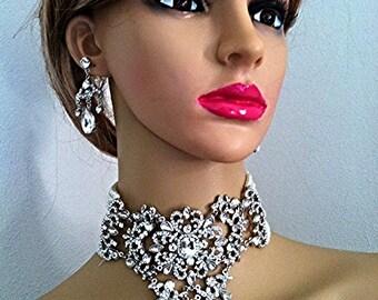 Pearl Bridal choker necklace & earrings jewelry set