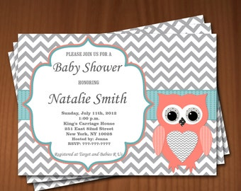 Owl Baby Shower Invitation Girl Baby Shower invitations Printable Baby Shower Invites -FREE Thank You Card - editable pdf Download 670 coral
