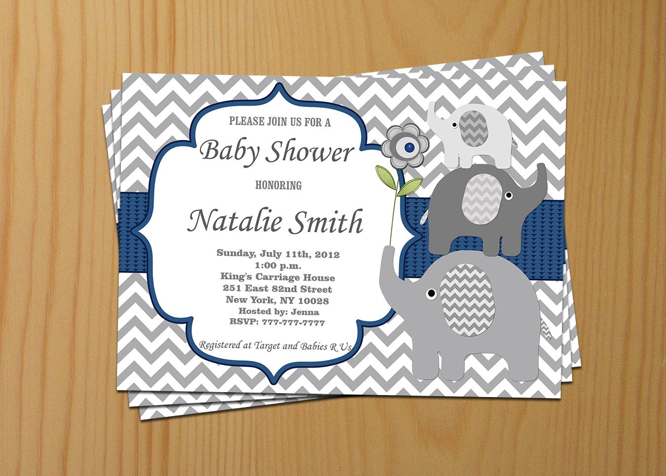 elephant baby shower invitation boy baby shower invitation