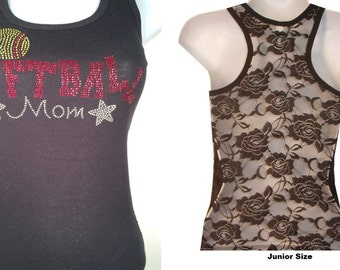 Brand New Rhinestone SoftBall MoM  Lace Back TANKTOP Shirst Blacks Size:S, To XL  Free Shipping available in white color