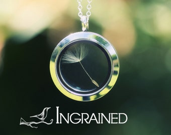 Dandelion Wish Locket with 925 Sterling Silver Chain, floating locket necklace, living locket, mini terrarium jewellery, make a wish