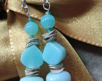 Peruvian Blue Opal Beaded Sterling Silver Earrings SRAJD