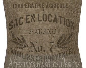 French Pillow 100% Burlap Brown Grain Sack Pillow Throw Pillow Cover Euro Sham