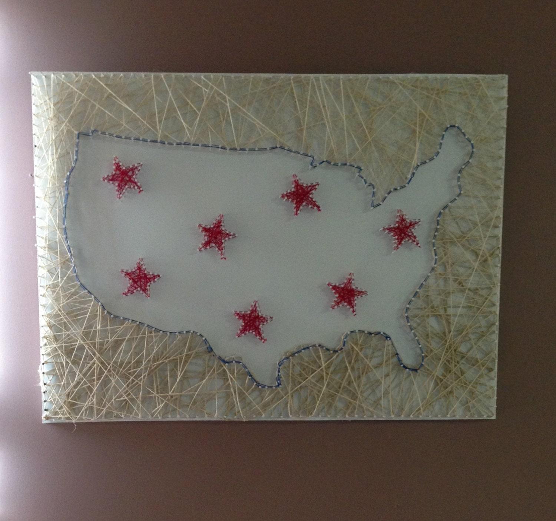 Nail And String Art: USA Nail String Art