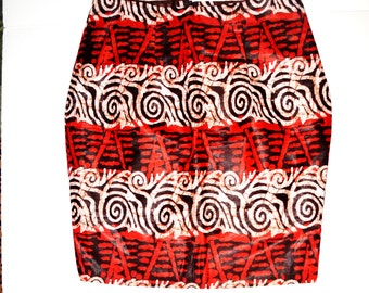African Print Pencil Skirt, African Print, Red Pencil Skirt, Valentines Day Red Pencil Skirt