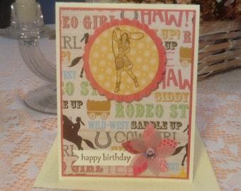 Retro Cowgirl Western Happy Birthday Card. HB15