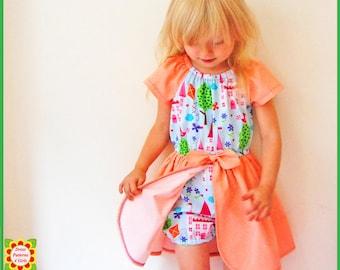 Princess Romper Dress Sewing Pattern for Girls + Free Mother-Daughter Apron Pattern, Peasant DRESS PATTERN, PDF Pattern, Toddler, Children