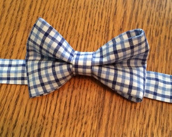 Plaid bow tie- blue