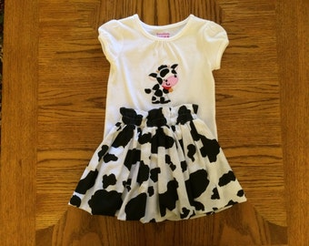 Girl's Cow Bubble Skirt and Shirt set