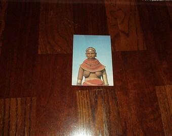Vintage 1980's POSTCARD Real Photo East AFRICA - SAMBURU Topless Tribal Girl #159 - Rare