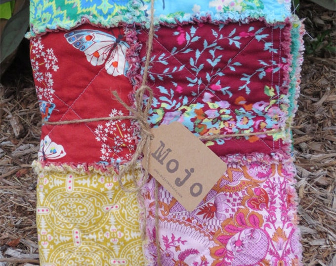 Rag Quilt - Handmade - Designer Fabric Collection - Modern color pallette - Butterflies - Ready to Ship