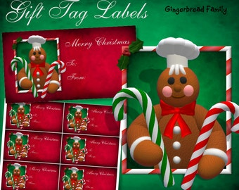 "Gingerbread Man ""Candy Canes"" Gift Tag Labels - Digital Download"