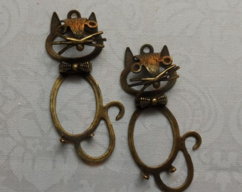 Vintage gold or silver plate brass whimsical cat charms with ring,2pcs-KC80