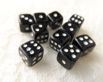 "Acrylic mini black and white dice,1/4"",9pcs-KC380"