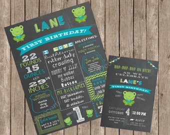 Frog Themed Chalkboard Printable Birthday Sign AND Invitation
