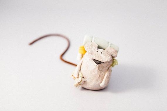 "Mouse ""The Tourist..."" Handmade Stoneware Sculpture, Ceramic Animal Figure"