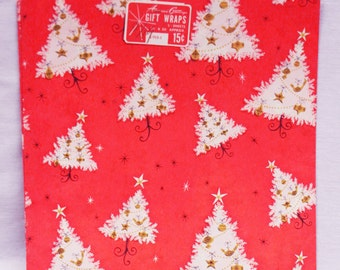 Vintage Christmas holiday wrapping paper gift wrap red with white and gold trees 2 sheets