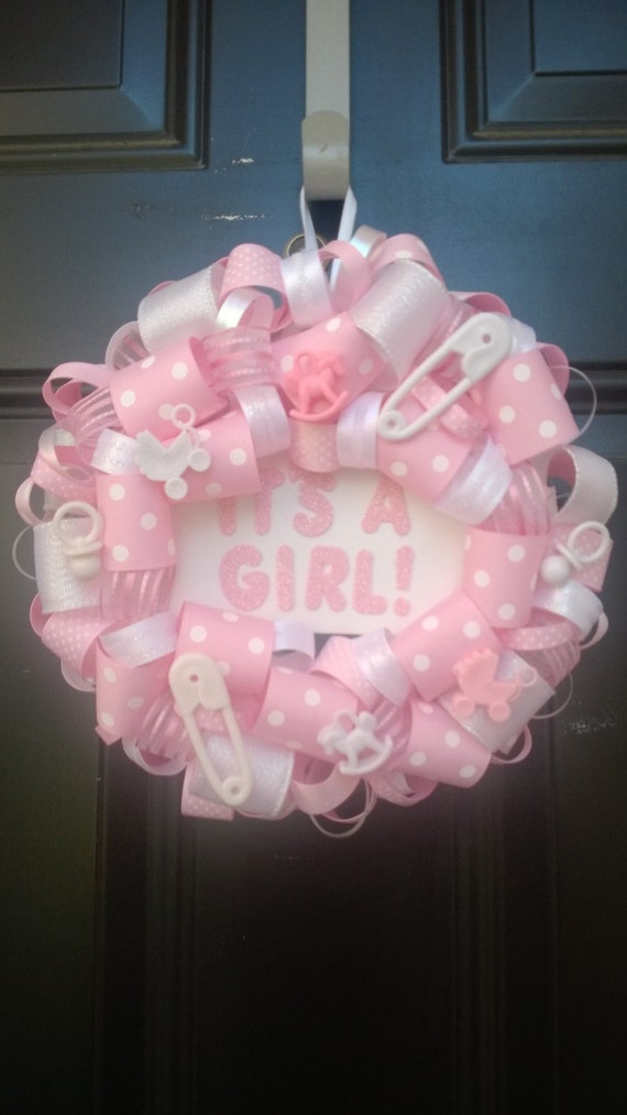 It 39 s a girl 8 ribbon wreath with pink and by just4theloveofit for Baby girl hospital door decoration
