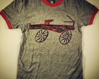 CHRISTMAS TEE  bicycle/radio flyer Unisex Red Racer Tee!