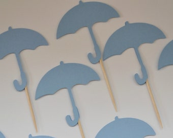 12 Umbrella Cupcake Toppers, Toothpicks