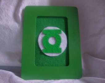 Hand painted Green Lantern picture frame.