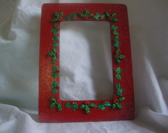 XMAS SALE 20% OFF (Price reflects discount) Handmade  Hand Painted Christmas picture frame with Holly Berry