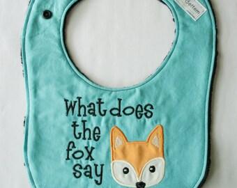 What Does the Fox Say Baby Bib, Ylvis The Fox Baby Bib, Baby shower Gift Ideas,
