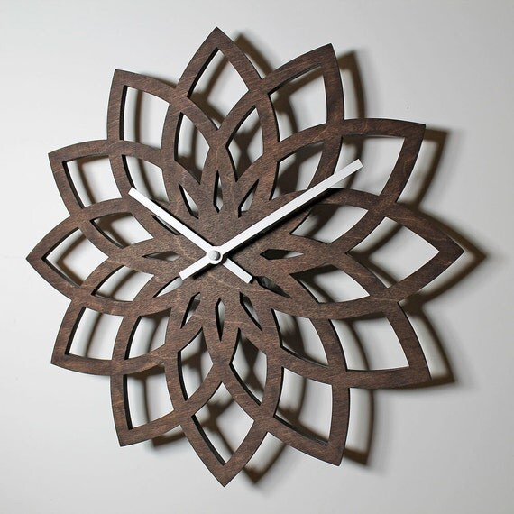 12 Lotus Wall Clock Modern Laser Cut Wood By Nygaarddesign
