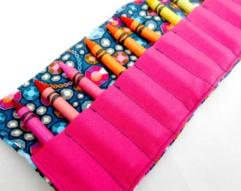 Jewels Crayon Roll - 16 Crayons, Jewel, Pink Crayon roll, Gems, girls