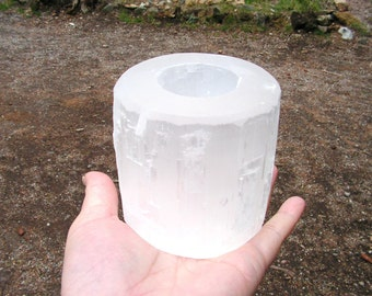 Selenite Candle Holder, crystal, mineral, new age, metaphysical