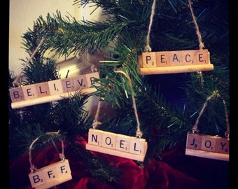 Personalized Christmas Ornaments, CHOOSE ANY Word or Name (upto 9 letters), Rustic christmas Ornament, Grandkid Ornaments