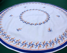 Vintage round LINEN tablecloth cross stitch embroidery table cloth 60s