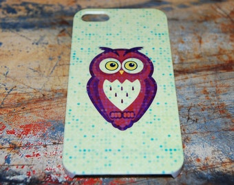 Green Simple Owl Print Case For iPhone 6 / (4.7) / 4.7 / 5c / 5s / 5 / 4s / 4 Hard Plastic Rigid Cover Printed In USA c10
