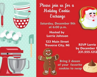 Holiday Cookie Exchange Invitations  - Christmas Cookie Exchange Invitation - Cookie Swap