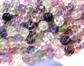 wholesale12mm full strand genuine  rainbow flourite gemstone round ball carved  jewelry beads DIY