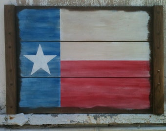 Texas Flag on a Crate Flat, Lone Star Flag Hand Painted on a Wood Crate Flat, Rustic Texas  Art or Wall Hanging, Show Your Texas Pride