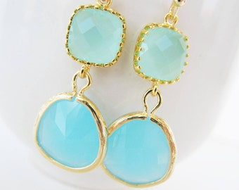 Mint blue earrings Mint and ocean blue earrings Glass earrings Teal earrings chalcedony earrings mint blue gemstone earrings